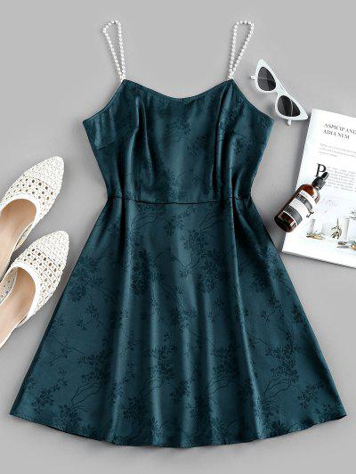 ZAFUL Party Faux Pearl Cami Dress - Sea Turtle Green S