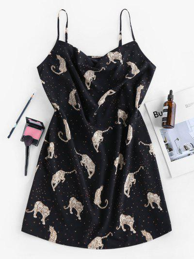 ZAFUL Leopard Pattern Slip Dress - Black M