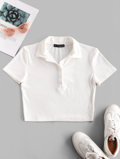 ZAFUL Half Buttoned Solid Ribbed Cropped Tee - White S