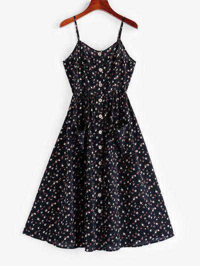 ZAFUL Flower Button Down Cami Dress - Black M