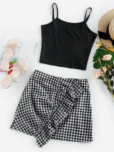ZAFUL Ruffle Checked Mini Two Piece Dress - Black Xl