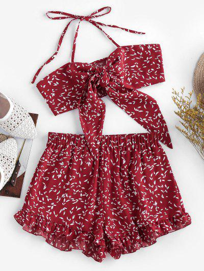 ZAFUL Halter Tied Floral Print Co Ord Set - Red Wine L