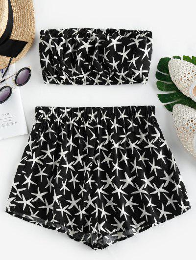 ZAFUL Starfish Print Strapless Co Ord Set - Black M
