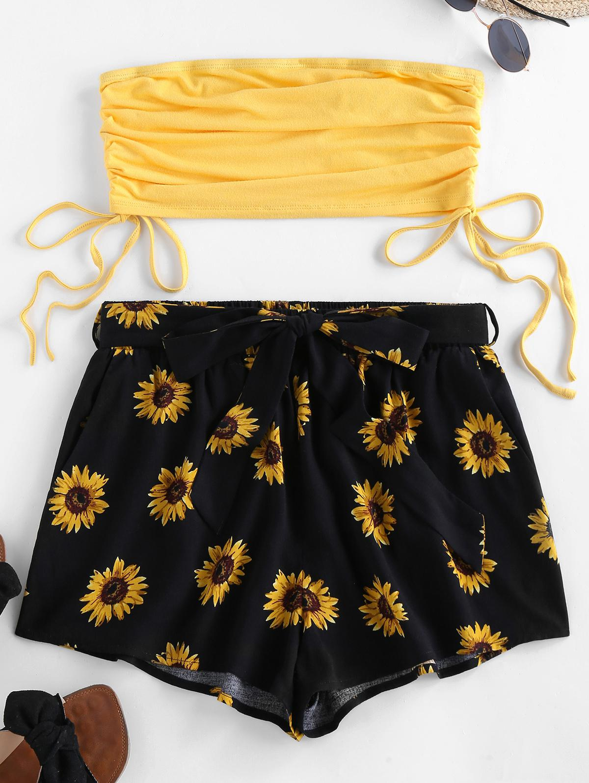 ZAFUL Bandeau Cinched Top and Sunflower Print Shorts Set