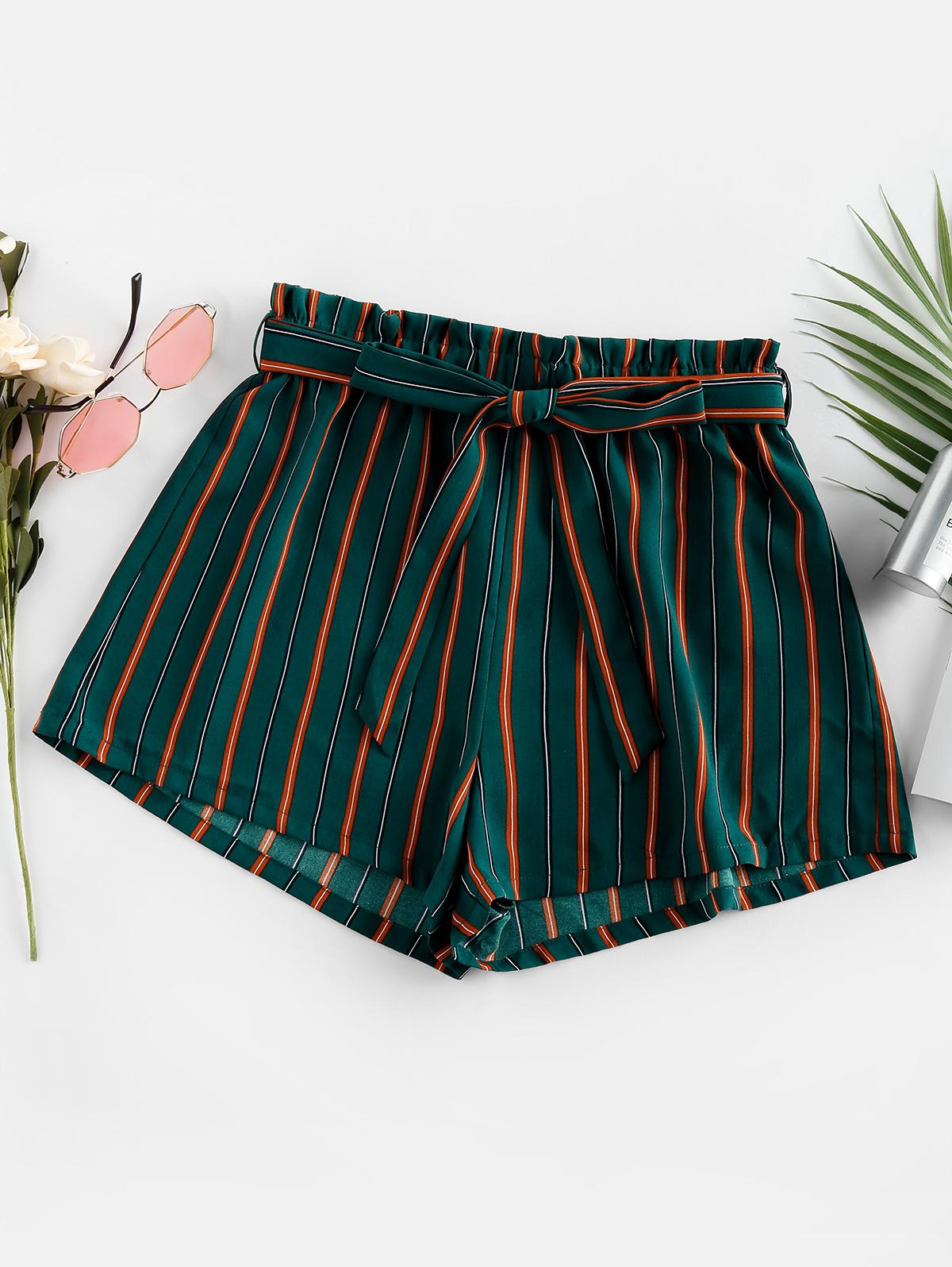 ZAFUL Belted Stripe Paperbag Shorts