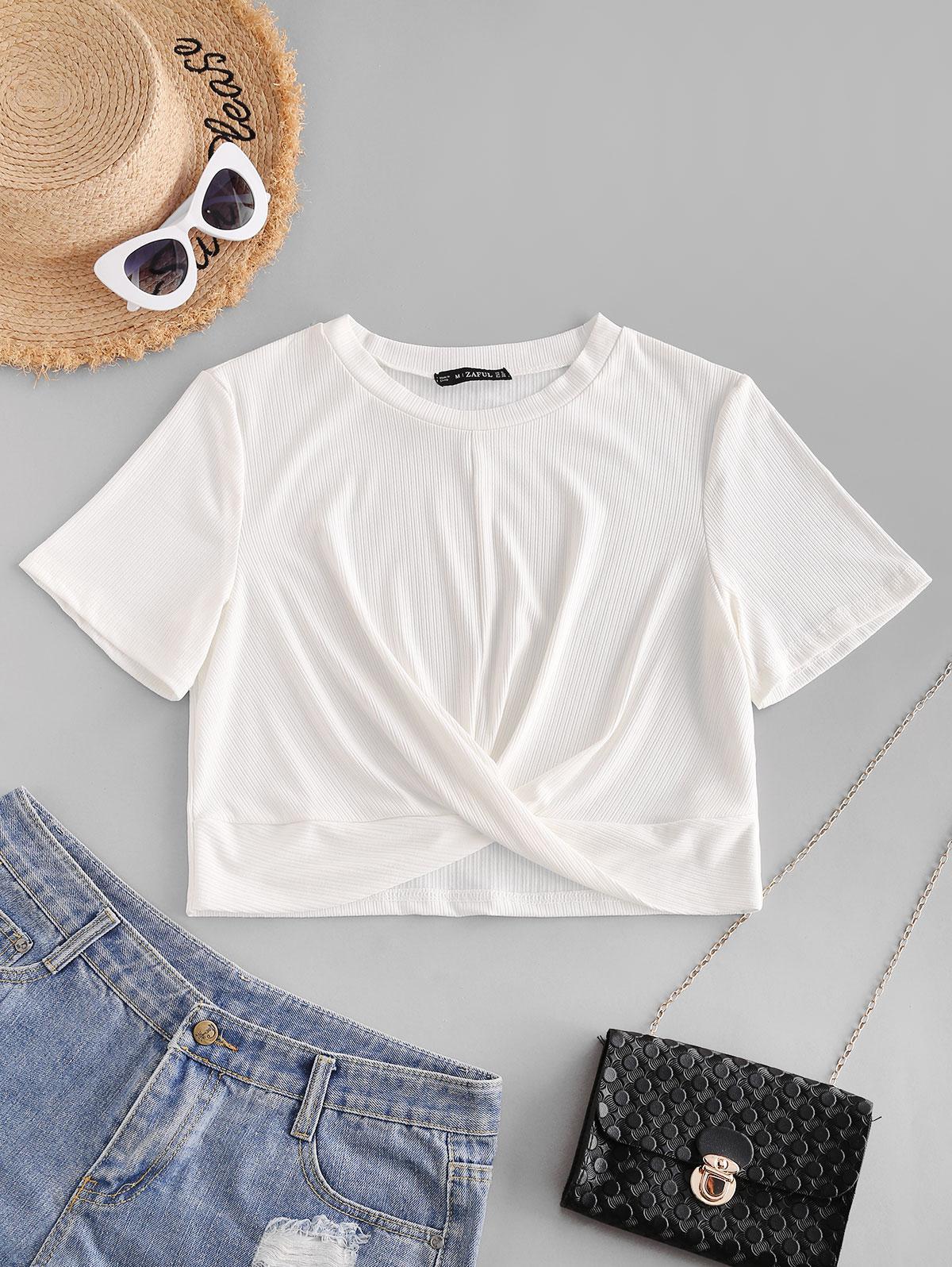 ZAFUL Ribbed Twisted Crop T-shirt фото