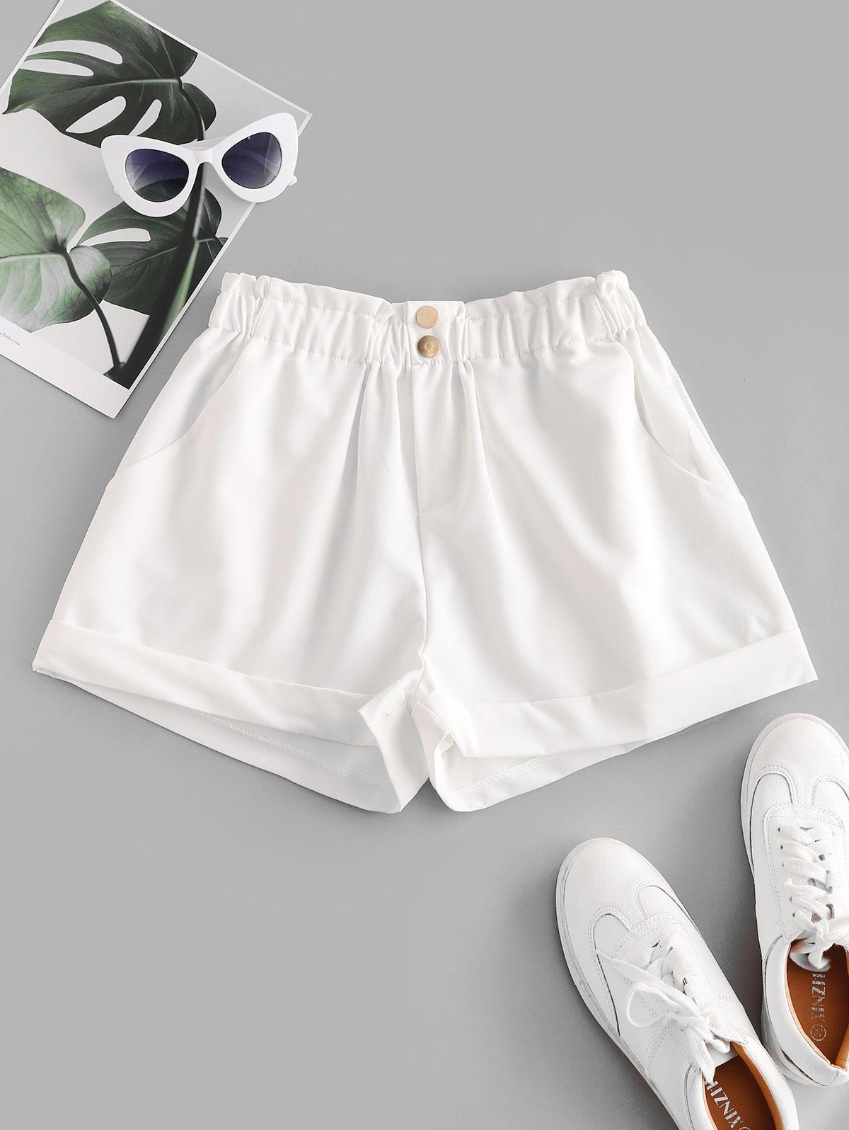ZAFUL Pockets Two Buttoned Cuffed Hem Paperbag Shorts, White
