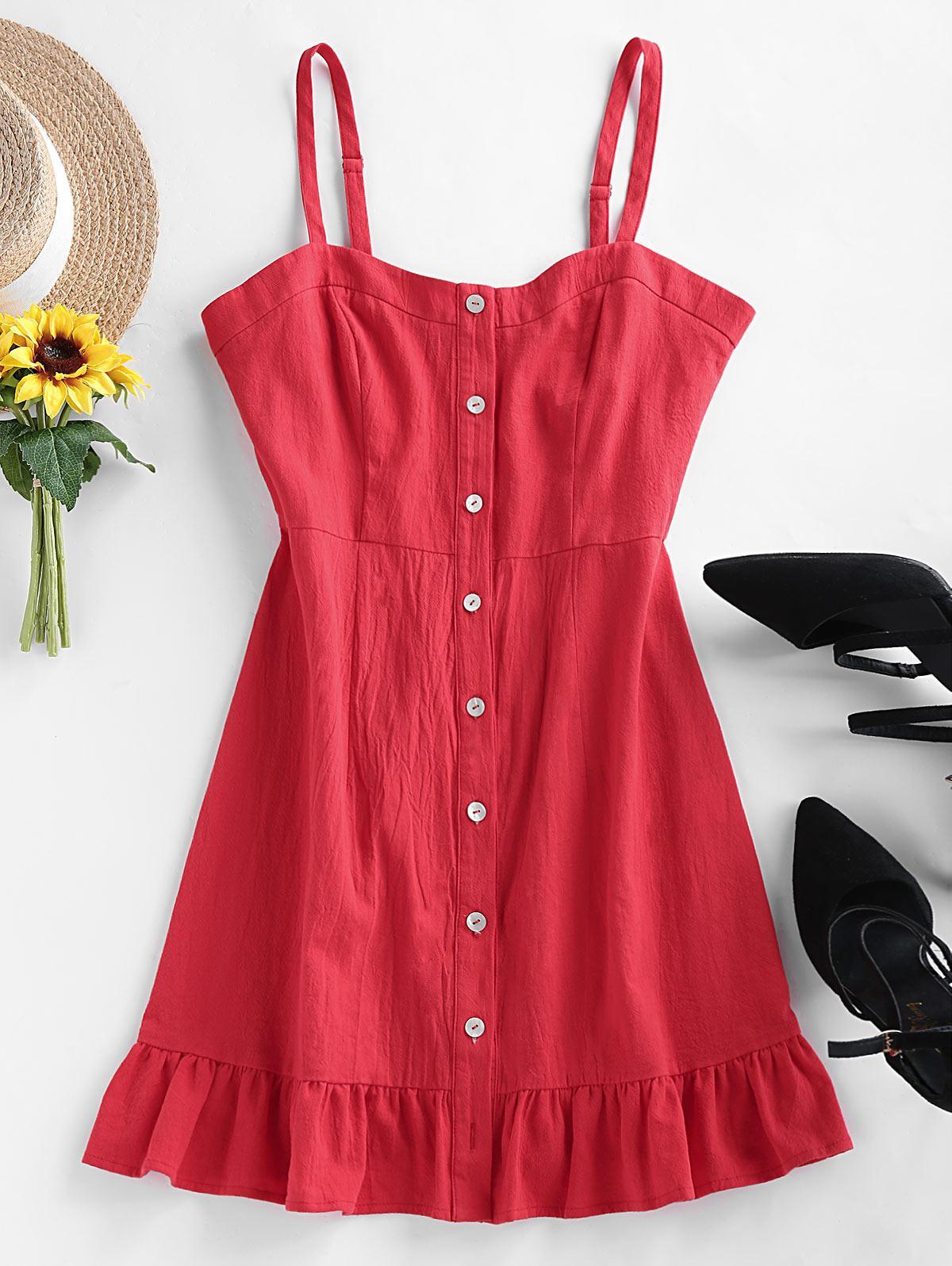 ZAFUL Buttons Ruffle Cami Dress