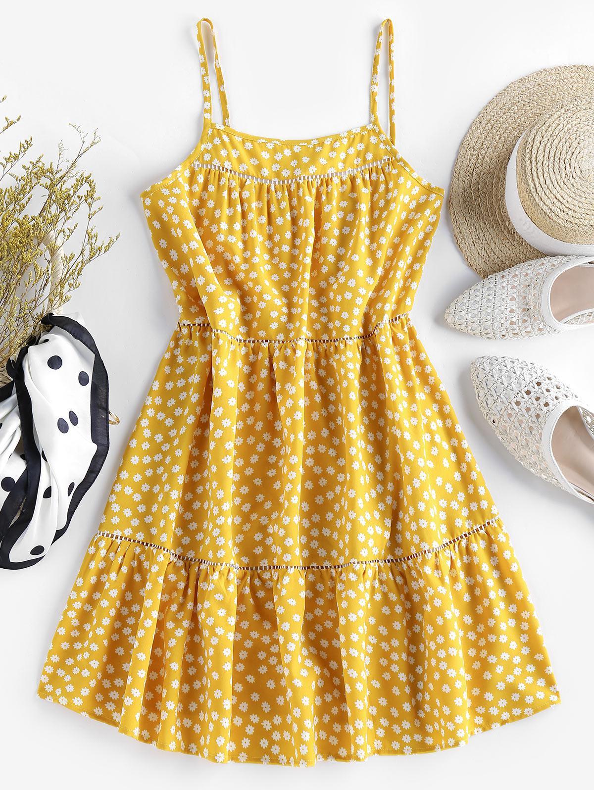 ZAFUL Flounce Ditsy Print Mini Dress