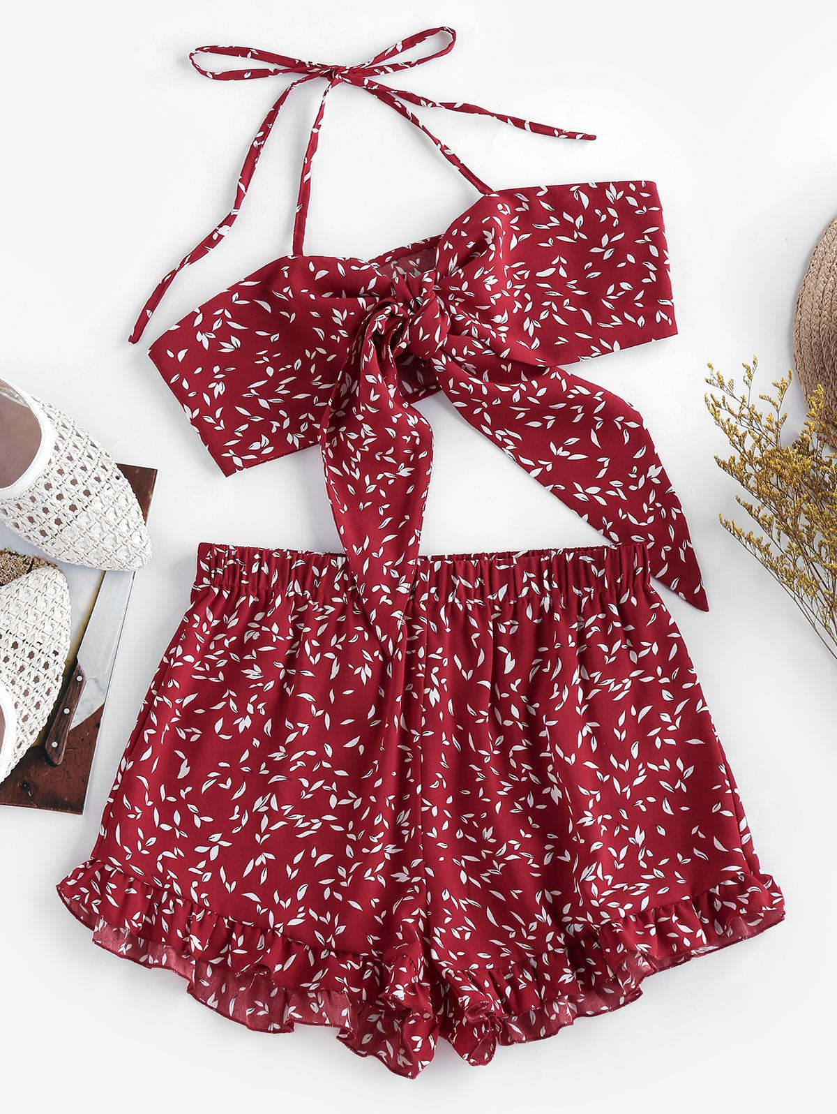 ZAFUL Halter Tied Floral Print Co Ord Set