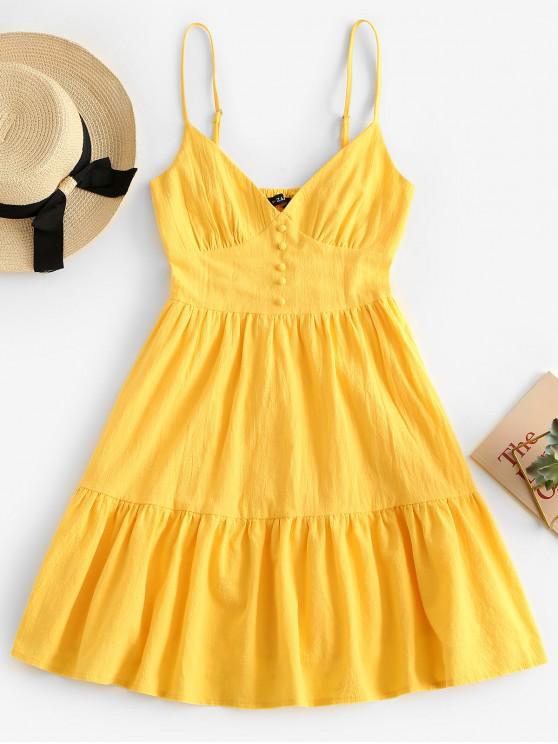 fashion ZAFUL Button Embellished Smocked Flounce Hem Cami Dress - YELLOW S