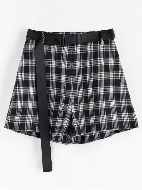 affordable ZAFUL High Rise Belted Plaid Shorts - BLACK XL