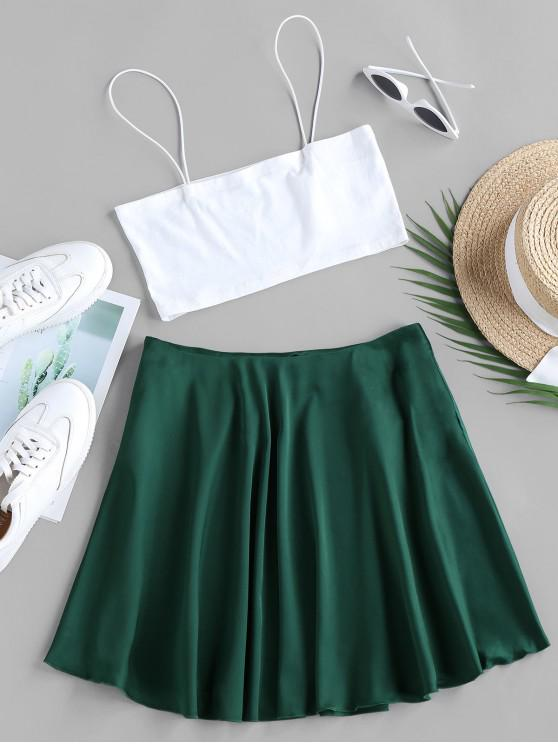 unique ZAFUL Crop Camisole and Mini A Line Skirt Set - GREENISH BLUE S