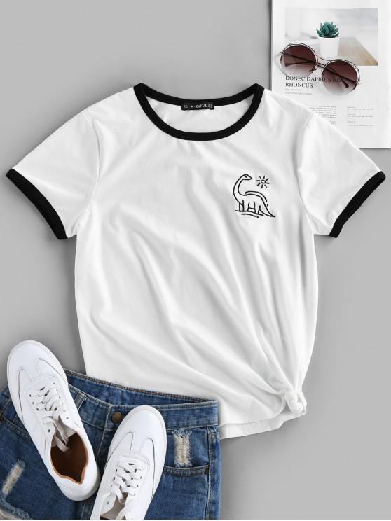 ZAFUL înnodate Dinosaur Brodate Ringer T Shirt - alb M