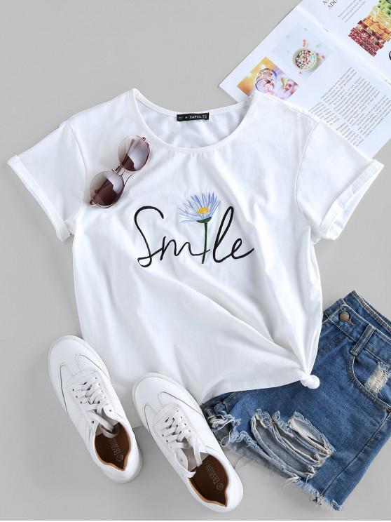 Sorriso bordado com Nó gráfico Camiseta - Branco XL