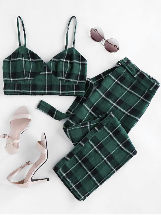 best Plaid Smocked Two Piece Pants Set - MEDIUM SEA GREEN XL