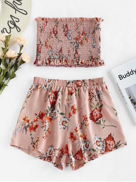 best ZAFUL Smocked Strapless Floral Print Two Piece Set - ROSE S