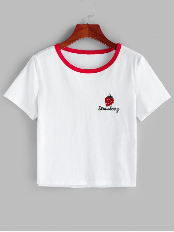 ZAFUL T-shirt Bordado Bloco de Cores de morangos - Branco S