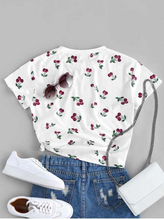 ZAFUL Cherry Pattern T-shirt - White L