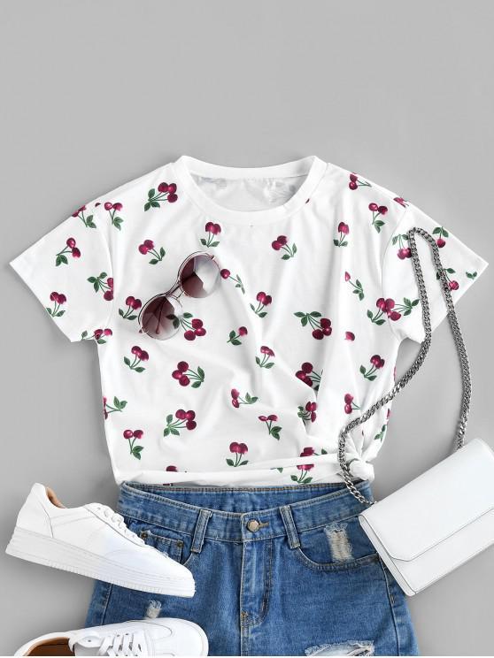 buy ZAFUL Cherry Pattern T-shirt - WHITE L