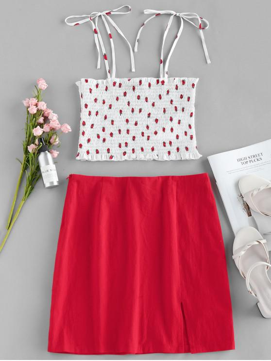 sale ZAFUL Strawberry Print Smocked Two Piece Dress - RUBY RED L