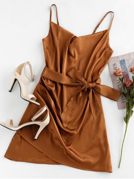 lady ZAFUL Satin Tulip Hem Draped Belted Cami Dress - WOOD S