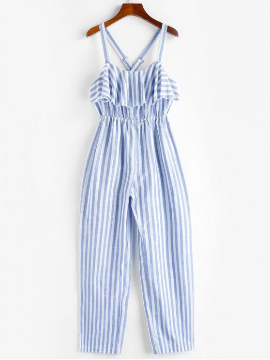 best ZAFUL Ruffle Crisscross Striped Jumpsuit - SEA BLUE M
