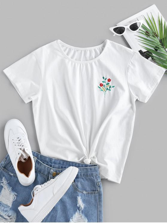 chic ZAFUL Floral Embroidered Knotted T Shirt - WHITE S