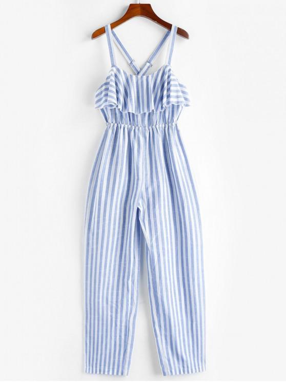 ZAFUL Jumpsuit mit Gekreuzten Streifen und Rüschen - Meerblau XL