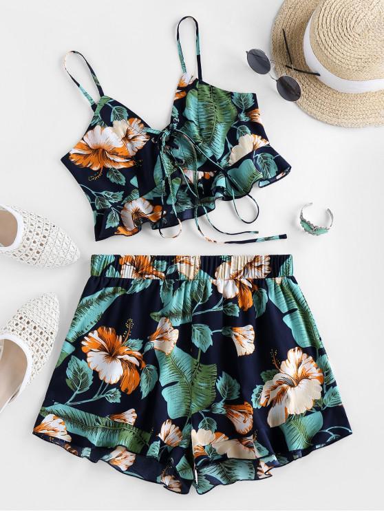 lady ZAFUL Flounce Tropical Print Co Ord Set - MIDNIGHT BLUE XL