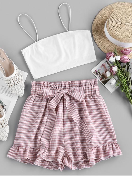 shops ZAFUL Cami Top and Plaid Paperbag Shorts Set - PINK ROSE M