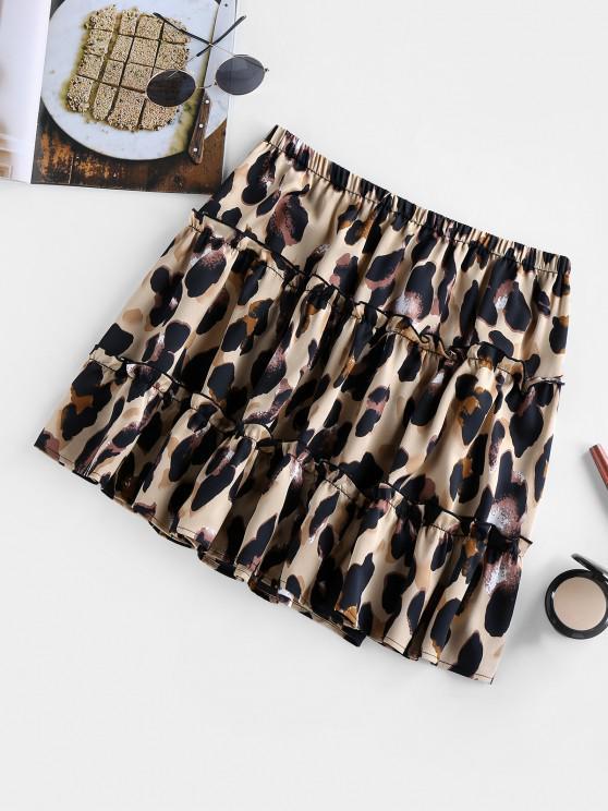 ZAFUL Mini Falda con Volantes y Estampado de Leopardo - Leopardo L