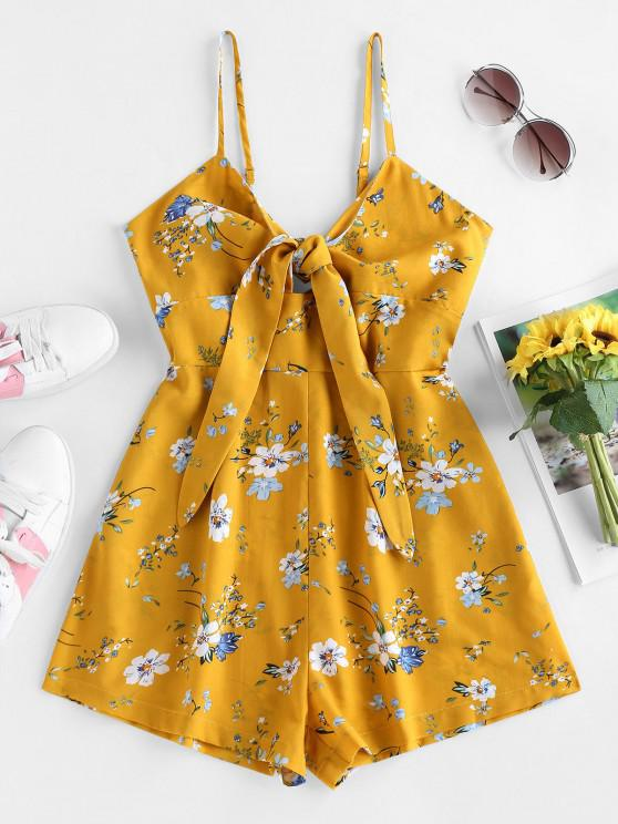 women's ZAFUL Floral Print Front Tie Romper - BRIGHT YELLOW S