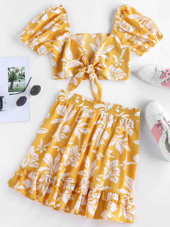 outfits ZAFUL Floral Print Tied Flounce Two Piece Dress - BEE YELLOW L