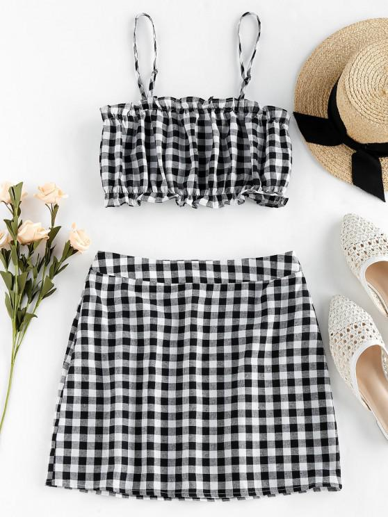 online ZAFUL Checked Ruffle Mini Two Piece Dress - BLACK S