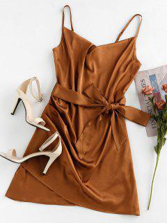 ZAFUL Satin Tulip Hem Draped Belted Cami Dress - Wood S