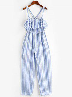 ZAFUL Ruffle Crisscross Striped Jumpsuit - Sea Blue Xl