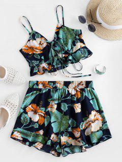 ZAFUL Flounce Tropical Print Co Ord Set - Midnight Blue L
