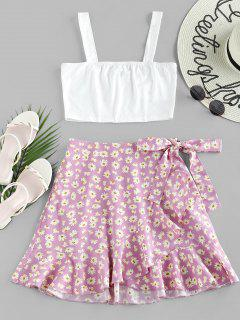 ZAFUL Ruffle Ditsy Print Two Piece Dress - Mauve M