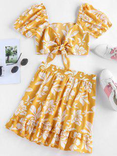 ZAFUL Floral Print Tied Flounce Two Piece Dress - Bee Yellow S