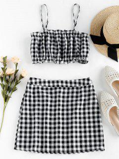 ZAFUL Checked Ruffle Mini Two Piece Dress - Black M