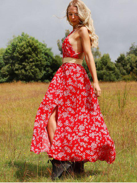 outfits ZAFUL Backless Floral Print Slit Maxi Dress - RED L Mobile