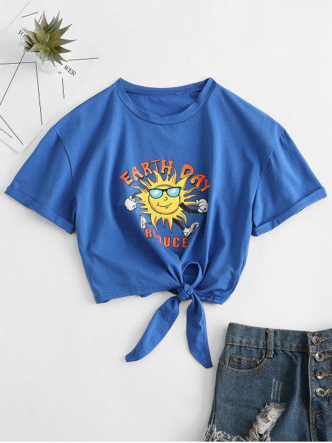ZAFUL T-shirt de Base GraphiqueAmusant - Bleu S Mobile