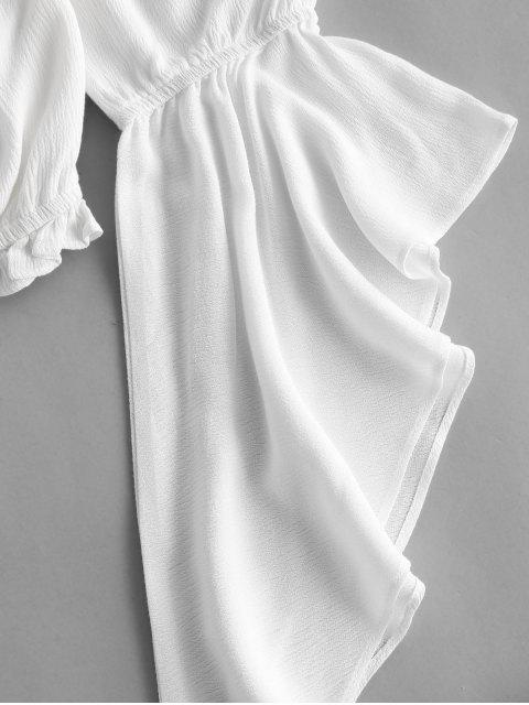 sale ZAFUL Flare Sleeve Off Shoulder Lace Up Blouse - WHITE L Mobile