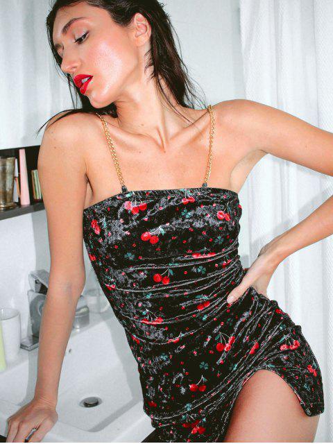 hot ZAFUL Cherry Graphic Chain Strap Velvet Dress - BLACK M Mobile