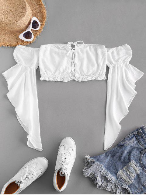 womens ZAFUL Flare Sleeve Off Shoulder Lace Up Blouse - WHITE S Mobile