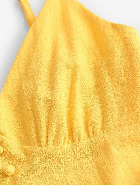 ZAFUL Vestido de Tirante Fino con Volantes con Botones - Amarillo S Mobile