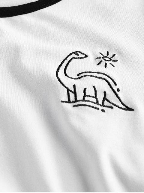 ZAFUL結び恐竜刺繍リンガーTシャツ - 白 L Mobile