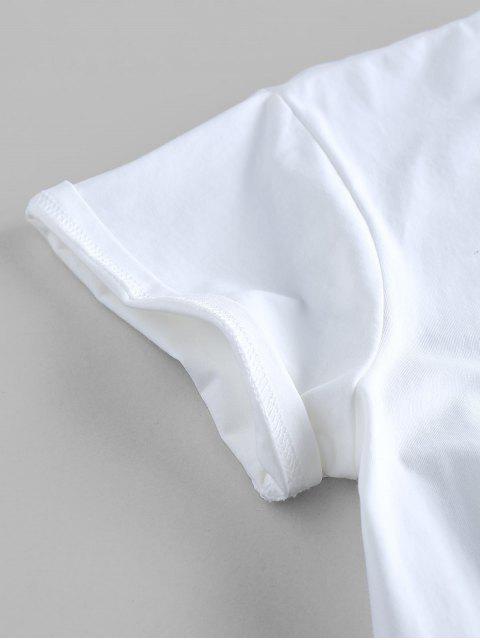 T-shirt Graphique Noué Sourire Brodé - Blanc L Mobile