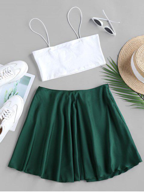 unique ZAFUL Crop Camisole and Mini A Line Skirt Set - GREENISH BLUE S Mobile